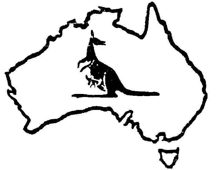 Line Art Limited : Australia map kangaroo with joey by masalki