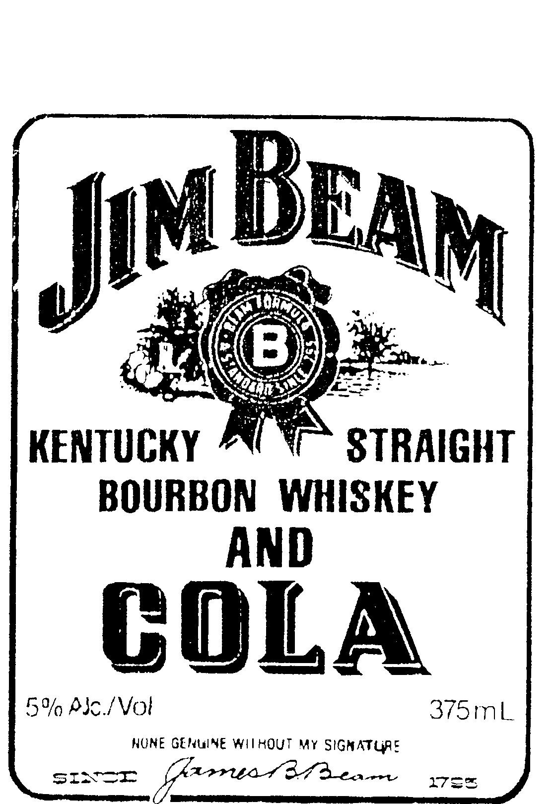 Jim Beam Kentucky Straight Bourbon Whiskey And Cola B By