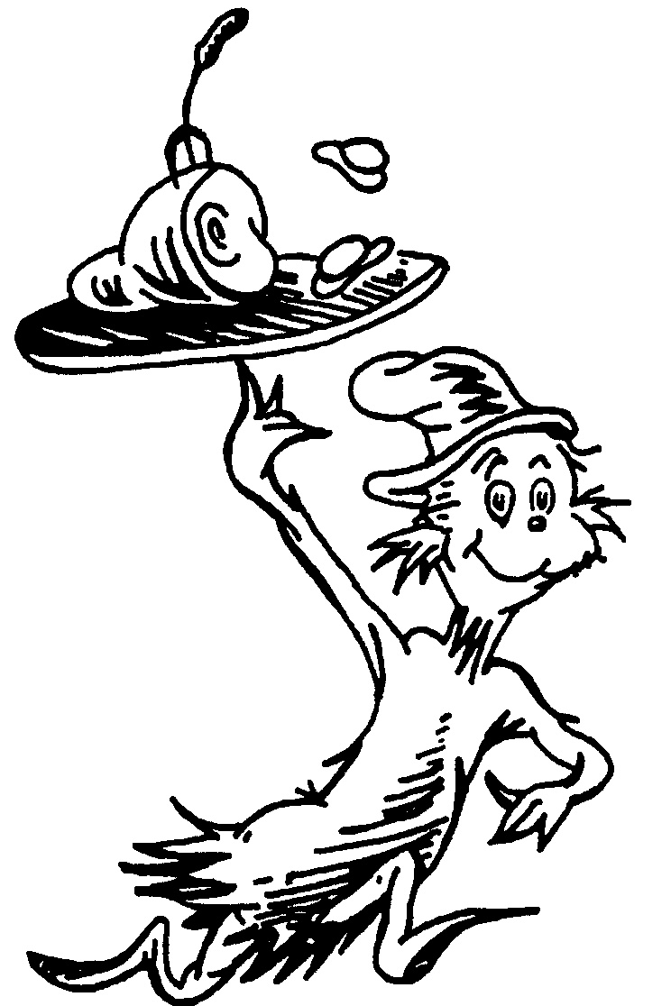 cat in the hat coloring pages free - cat in hat cartoon running with ham eggs on plate by dr