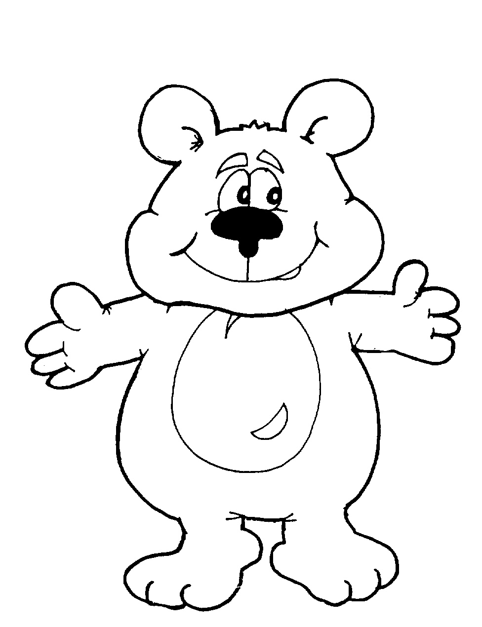 how to draw a cartoon bear standing up